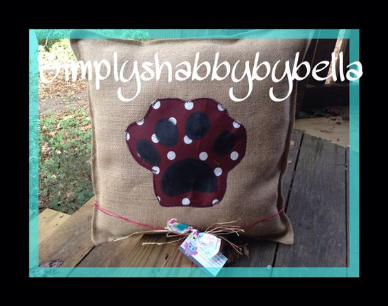 Mississippi state burlap Pillow with paw by SimplyShabbyByBella