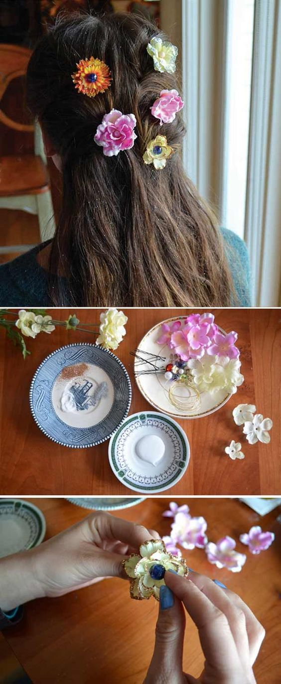 How to Make Cool and Pretty Crafts for Teens | DIY Princess Hair Accessories by DIY Ready at http://diyready.com/27-easy-diy-projects-for-teens-who-love-to-craft/: