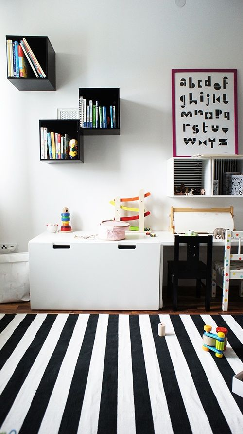 black & white kids #playroom: Kids Playroom Ikea, Ikea Boys Room, Black And White Kids Room, Black And White Playrooms, Ikea Kids Room, Kidsroom, Ikea Kids Bedroom, Boy Room, Kids Rooms