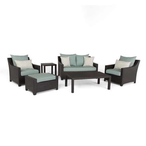 deco spa 6 piece outdoor patio loveseat and club chair set by rst brands alexandria balcony set high quality patio furniture