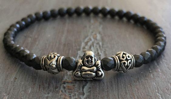 Buddha Bracelet Buddha Jewelry Hematite Bracelet Boho by indietiez