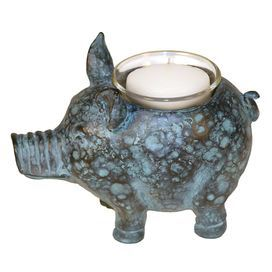 Mottled blue and copper  Pig-shaped Candle holder