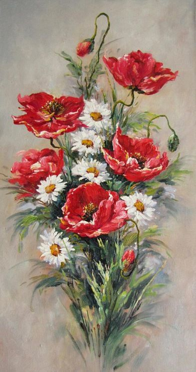 Poppies and Daisies Floral arrangement: