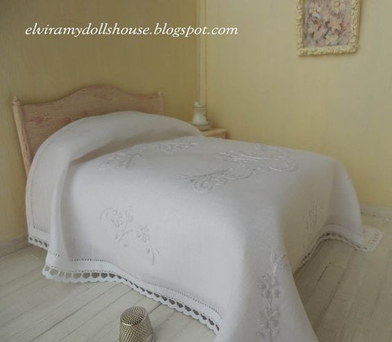 Classic Italian Embroidered Linen Bedspread, Dollhouse Miniature Handmade,1:12 Scale Dolls House