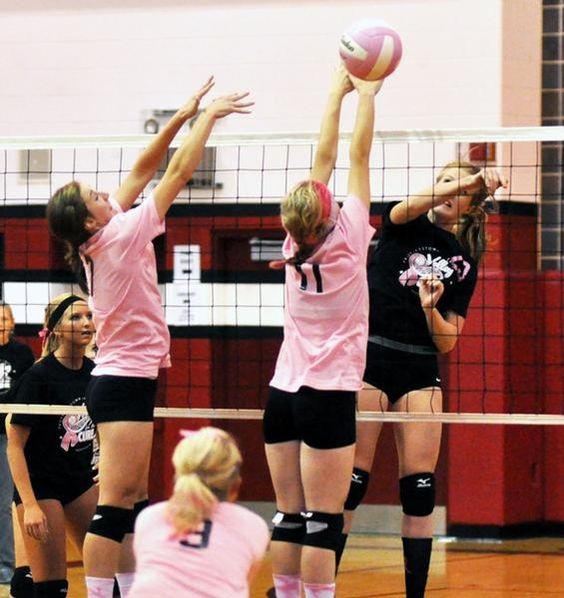 My best friend on pinterest? WHUUUTTT Erie's Rachel Cobert (right) gets her hit past Prophetstown blockers Karlie Stafford (left)and Shelby Adams (11) to score a point that puts the Cardinals ahead 8-5 in the opening game of their two-game sweep Monday night in Erie, Ill.