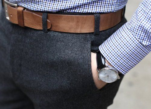 Charcoal flannel and a check shirt... nice!...think the watchband should coordinate with the belt, though...
