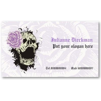 Elegant gothic grunge skull and purple rose custom business card template by justbusinesscards