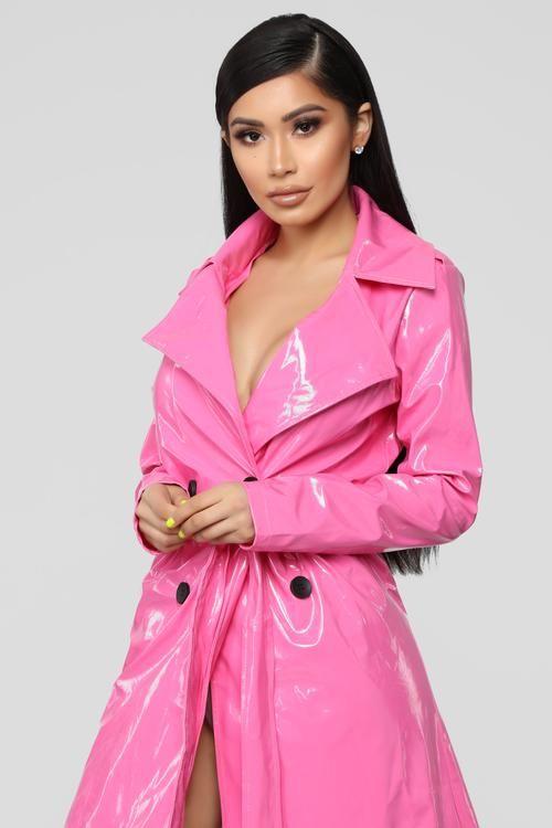 Pink Trench Coat Raincoat, Pink Plastic Trench Coat