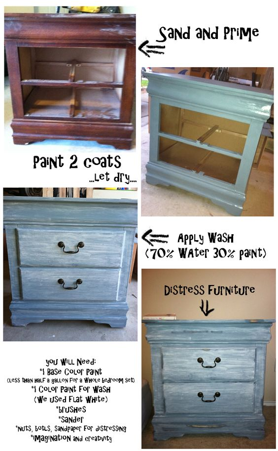 how to do distressed look on furniture