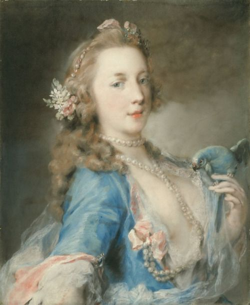 groovyhummus:  Rosalba Carriera A Young Lady with a Parrot c. 1730: