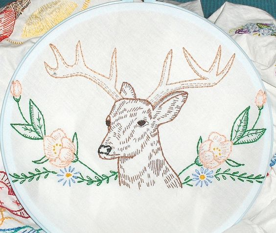 Deer and Flowers, from Vintage Embroidery Patterns by giddy99, via Flickr