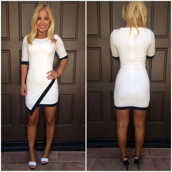 Nine To Five Asymmetrical Dress - WHITE
