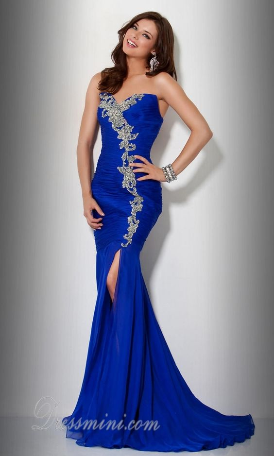 Royal Blue Mermaid/Trumpet Long/Floor-length Beading ...