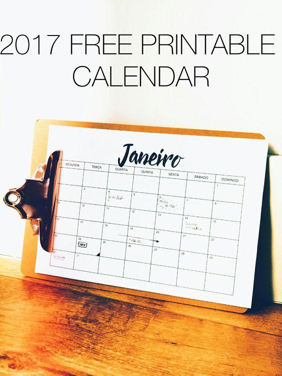 2017 free printable calendar simple and modern. Calendario para imprimir grátis simples em português: