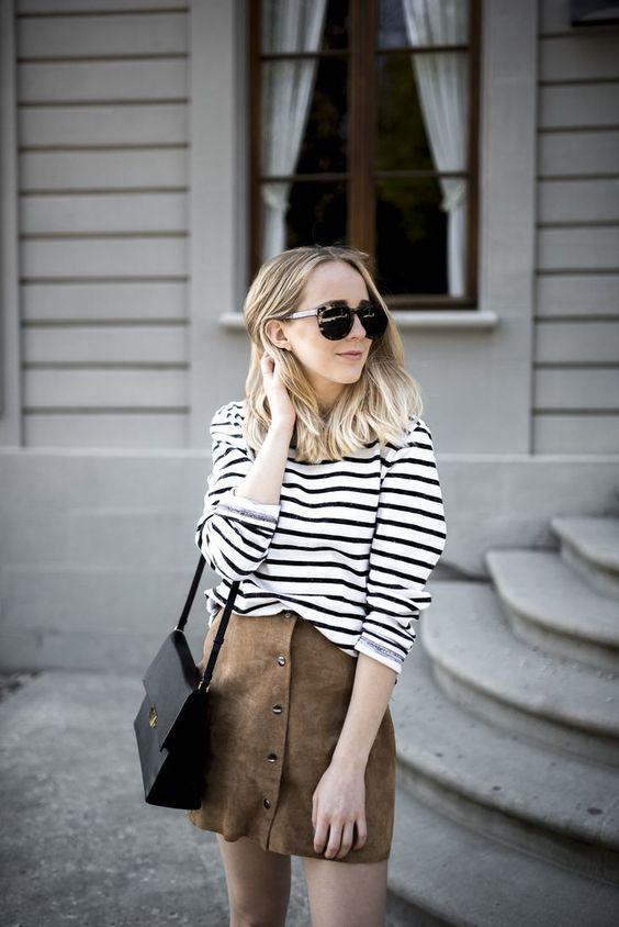 Look minimalista // saia beige com camisa listrada: