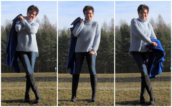 Mantel: ashley brooke, Stehkragen-Pullover: DARLING HARBOUR, Jeans: Levi's, Stiefel: Pier One