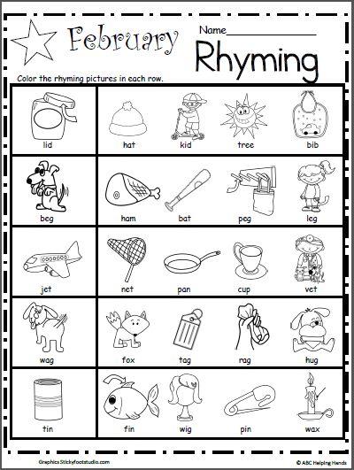 Kindergarten Rhyming Worksheets For February Made By Teachers Rhyming Worksheet Rhyming Activities Rhyming Words Worksheets Rhyming words for kindergarten