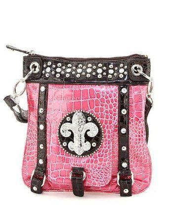 Pink Croco Rhinestone Fleur De Lis Hipster Purse $34.99