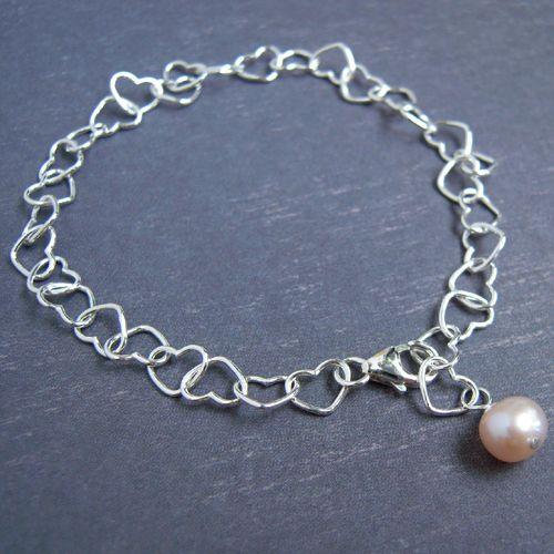 Heart Sterling Silver Bracelet von Vin Lace - handgefertigten Edelstein Schmuck auf DaWanda.com