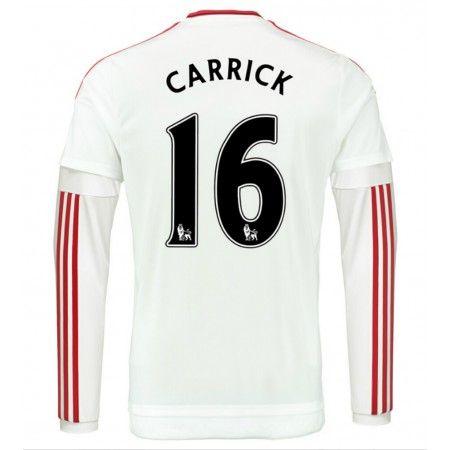 Günstige fußballtrikots Manchester United 15-16 Carrick 16 Auswärts Langarm Trikot