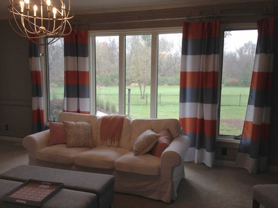 Custom Window Curtains - Made to Order - Any design - Any size ANY COLOR  Shown Navy with lime, pink , turquoise, coral, marigold and white BOLD