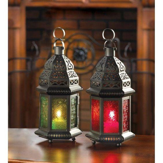 Green Glass Moroccan Lantern Hanging Candle Lanterns Candle Lanterns Moroccan Lamp