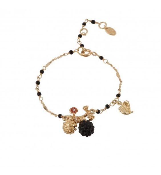 Les Néréides - Bracelet mûres noire et dorée et petite feuille