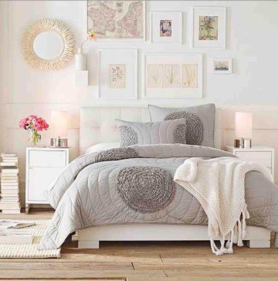 light and bright bedroom ideas grey nutral white feminine