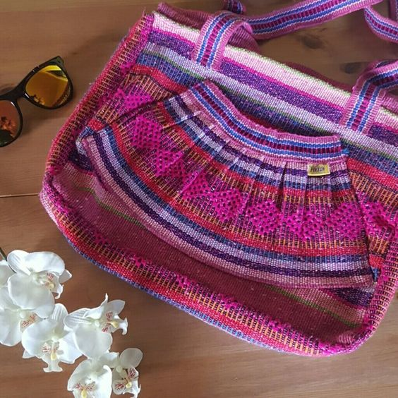 Handmade Mexican Bag Vibrant and beautiful, large, zipper enclosure, perfect for beach travels, laptop, school books etc. Hecho en M?xico. Bags Shoulder Bags