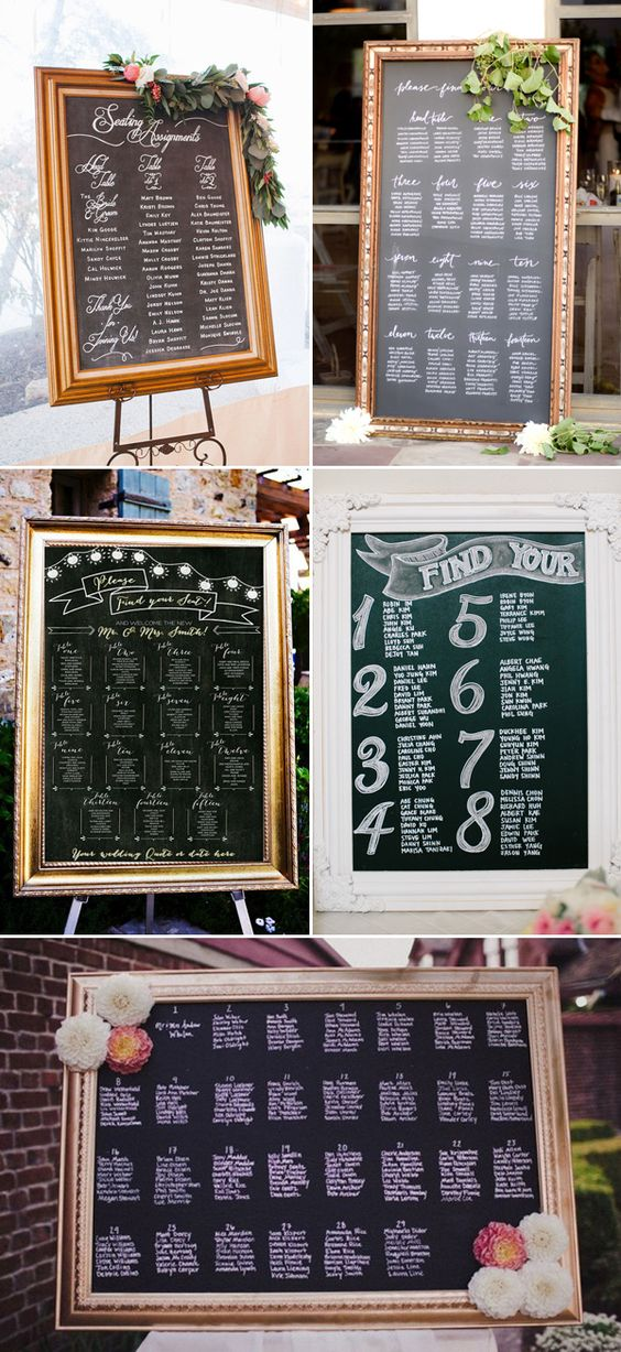 27 Creative Seating Chart Ideas Your Guests Will Love - Blackboard Displays