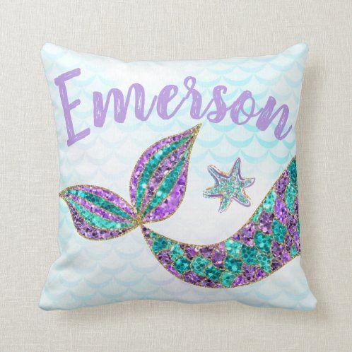 mermaid throw pillows pillows glitter