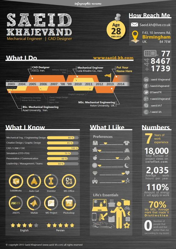 Infographic resume, Resume and Cad designer on Pinterest