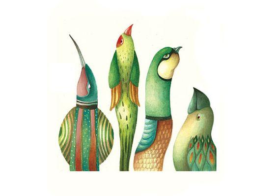 Green birds Bird print by NanuGraphic on Etsy