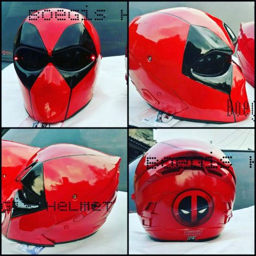THE DEADPOOL HELMET GLOSSY BLACK RED MOTORCYCLE ABS CUSTOM AIRBRUSH LAMP Size L