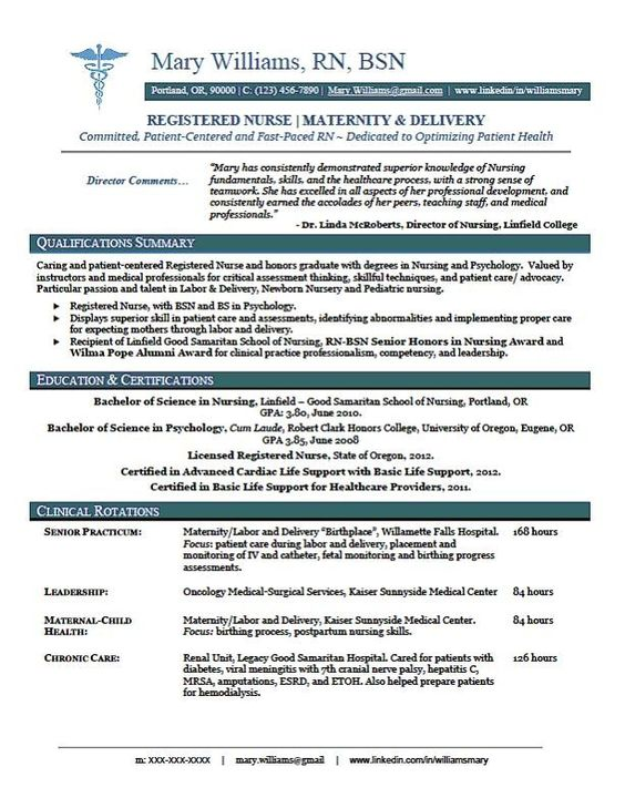 Nursing resume, Resume and Nursing on Pinterest - new grad rn resume sample