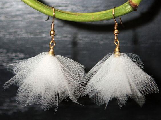 Wedding Earrings  White Tulle Bridal Bridesmaid Prom by kidalia, $10.00