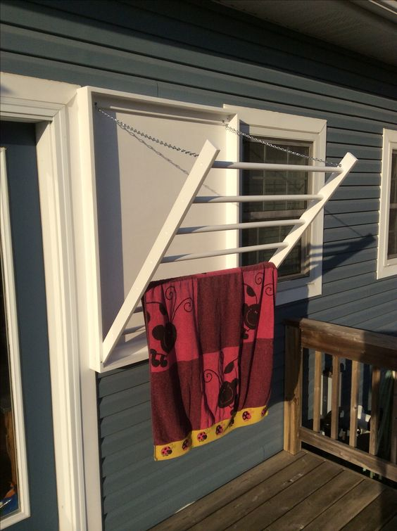 Towel rack. Outdoor drying rack for pool towels and bathing suits.
