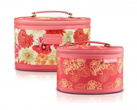Gift Set: Coral Floral 2 PC Train/Cosmetic Case Set - FREE SHIPPING