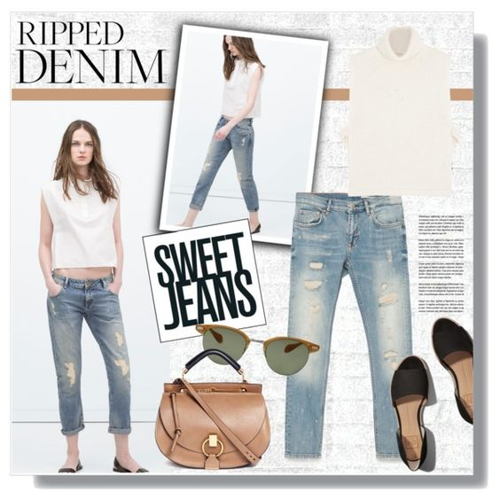 Sweet Jeans by clovers-mind on Polyvore featuring moda, Étoile Isabel Marant, Zara, Abercrombie & Fitch, Chloé, Oliver Peoples and Osborne & Little: