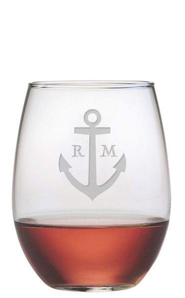 Personalized Anchor Stemless Wine Glass Product