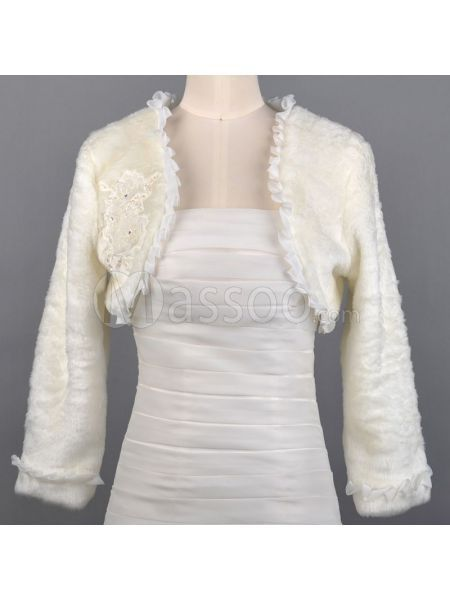 Cheap Long Sleeved Faux Fur Winter Bridal Jacket ms60nn876