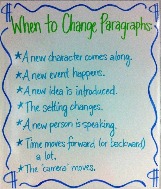 When to Change Paragraphs