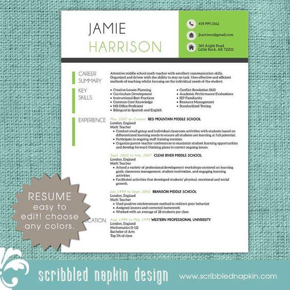 Teacher Resume Template Resume with Free Cover by ScribbledNapkin - kindergarten teacher resume example
