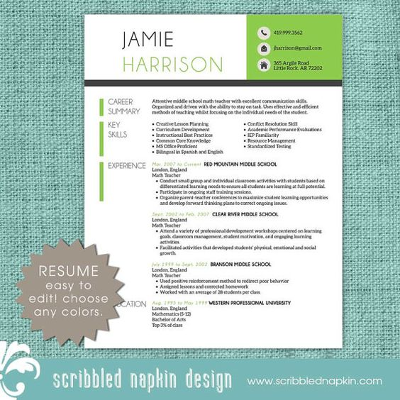 teacher resume template - resume with free cover letter and references - instant download