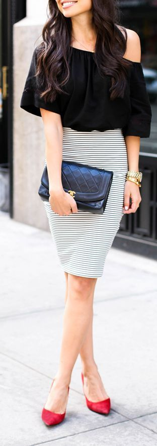 Striped Pencil Skirt , Black Top and Red Pumps - W...: