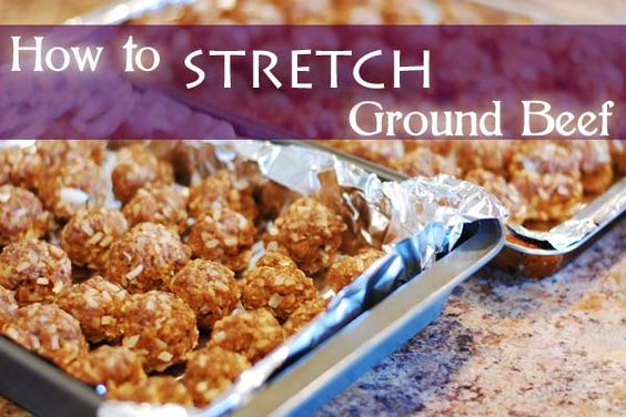 """how to stretch ground beef---  While this is fun and useful I can't help but think that this is reinventing the wheel.  My grandparents used to do this sort of thing all the time.  """"Porcupine Meatballs"""" were a staple at our family dinners.  Adding beans and/or rice to stretch meat is a longstanding tradition.  Still...I always like  a good recipe.  :)"""