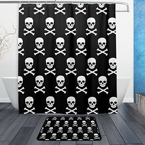 Skull And Bones Bath Set Fabric Shower Curtain Hooks With Matching Bath Mat Black And White Skull And Cro Fabric Shower Curtains Goth Decor Skull And Bones