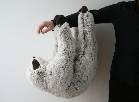 Philip Sloth, big and fluffy plush with magnetic paws, made to order