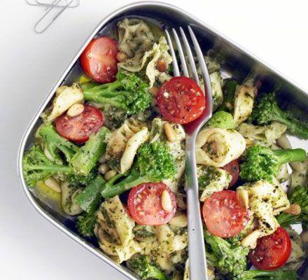 Fresh tortellini with tenderstem broccoli, cherry tomatoes and pesto.