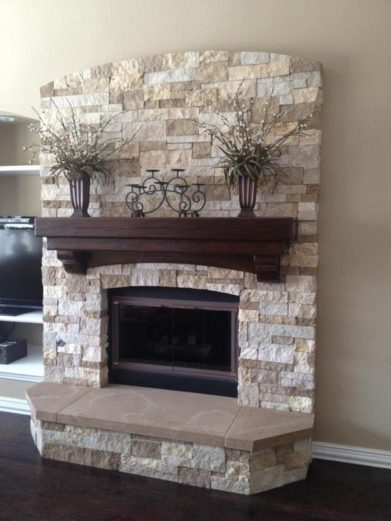 34 beautiful stone fireplaces that rock beautiful - Rockabilly mantel ...